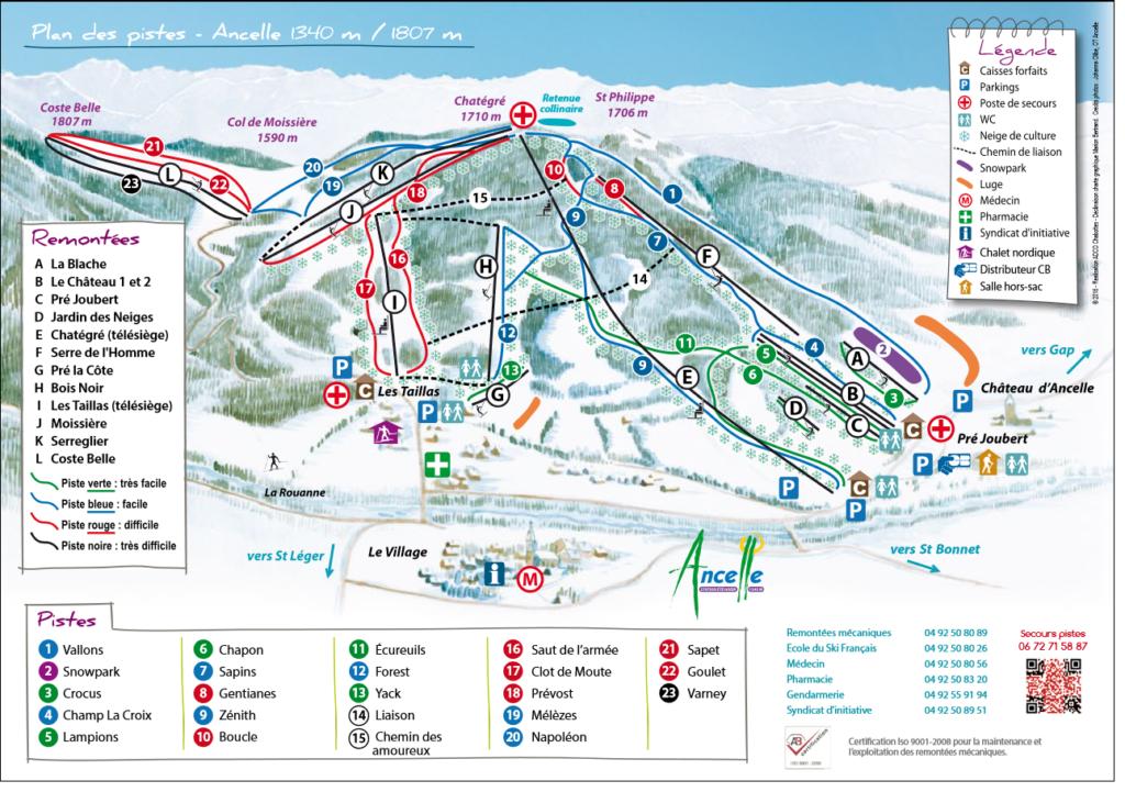 Plan des pistes de Ski Alpin à Ancelle